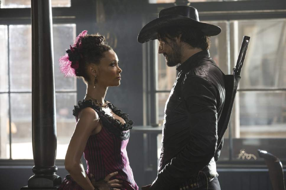 "Thandie Newton as Maeve Millay and Rodrigo Santoro as Hector Escaton in ""Westworld."" John P. Johnson  