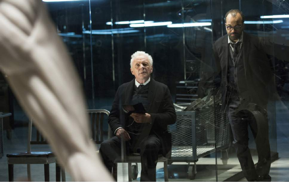 """Anthony Hopkins as Dr. Robert Ford and Jeffrey Wright as Bernard Lowe in """"Westworld."""" John P. Johnson  