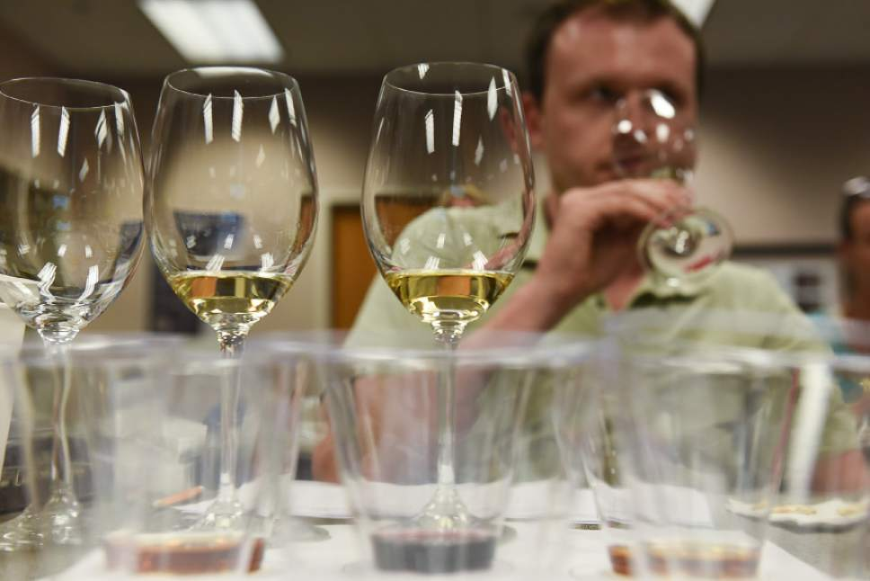 Francisco Kjolseth | The Salt Lake Tribune Erik Olson, an employee of the downtown Wine Store in Salt Lake City, smells the aroma of a wine during a recent training class. The DABC just started the class for Utah's liquor store employees. The Utah Department of Alcoholic Beverage Control got funding from the 2016 legislature for the training, something the public has been demanding for many years. Wendy Caron, a certified wine educator, was hired to teach the eight-week class.