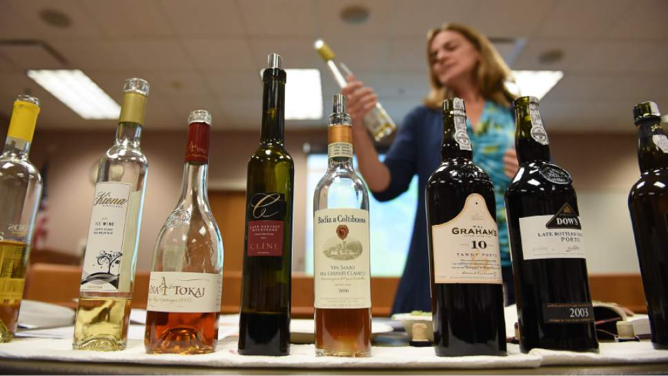 Francisco Kjolseth | The Salt Lake Tribune Wendy Caron, a certified wine educator discusses a particular wine as part of a training class for Utah's liquor store employees. Caron was hired by the Department of Alcohol and Beverage Control, DABC, to teach the eight-week class, as she walks students, most of whom work at the wine stores in SLC and Park City, through a discussion and tasting of various wines.