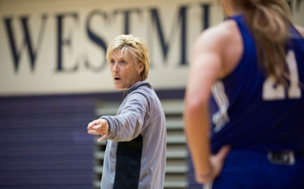 Lennie Mahler  |  The Salt Lake Tribune Westminster women's basketball assistant coach Elaine Elliott advises the team during practice in the Eccles Athletic Center on campus Friday, March 14, 2014. The team will enter the NAIA Tournament as a No. 1 seed next week.