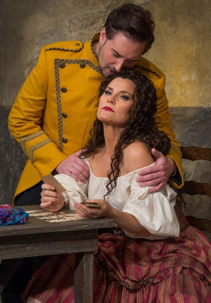 "Leah Hogsten     The Salt Lake Tribune In Utah Opera's ""Carmen,"" mezzo-Soprano Elise Quagliata is Carmen, the free-spirited Gypsy, and tenor Dominick Chenes, is Don Jose, the mentally unstable soldier."