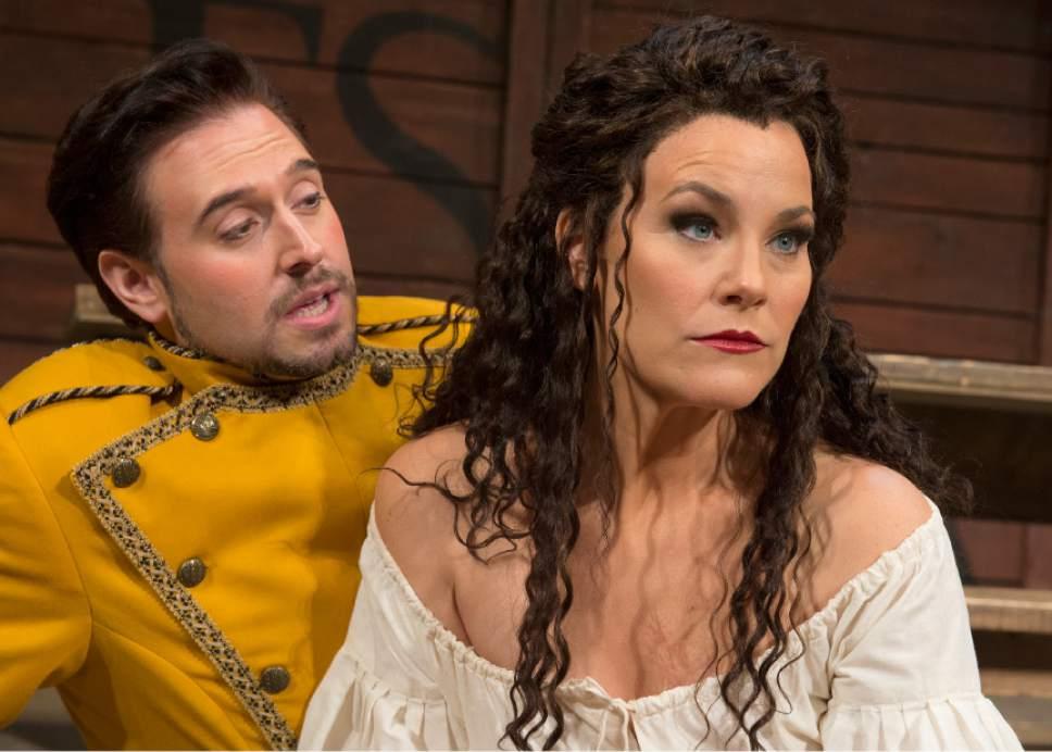 "Leah Hogsten  |  The Salt Lake Tribune In Utah Opera's ""Carmen,"" mezzo-Soprano Elise Quagliata is Carmen and tenor Dominick Chenes is Don Jose. The popular Bizet opera opens the company's season Saturday, Oct. 8."