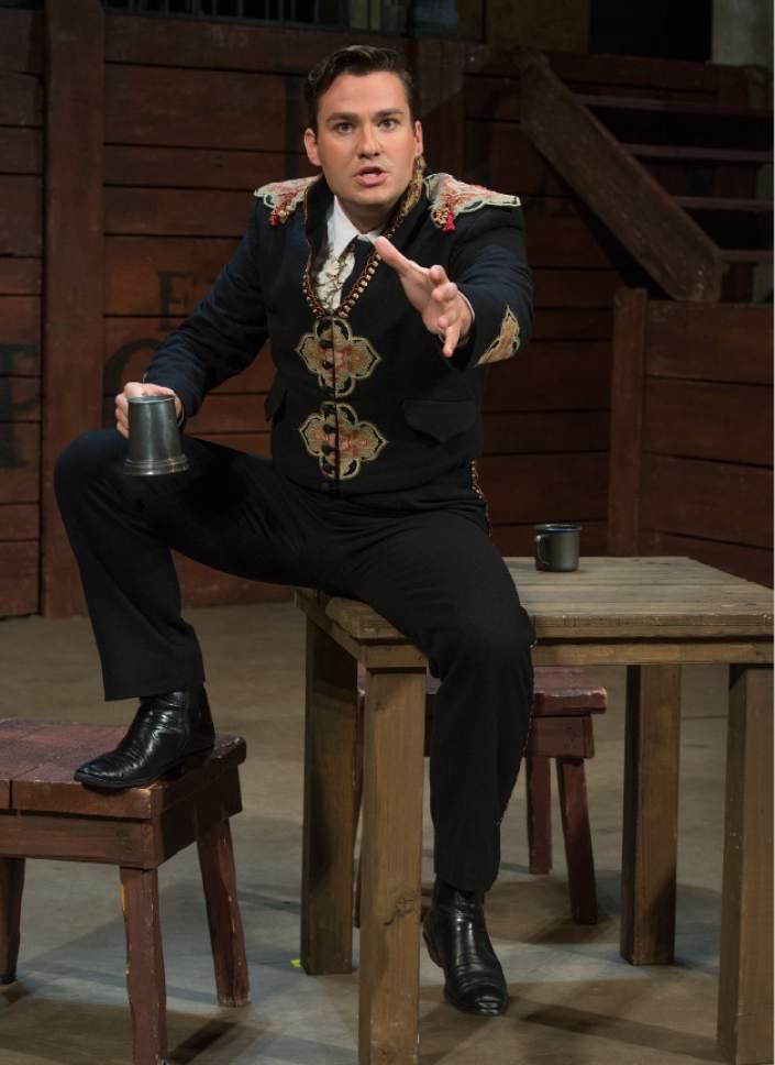 "Leah Hogsten     The Salt Lake Tribune In Utah Opera's ""Carmen,"" baritone Christian Bowers is Escamillo, the star bullfighter."