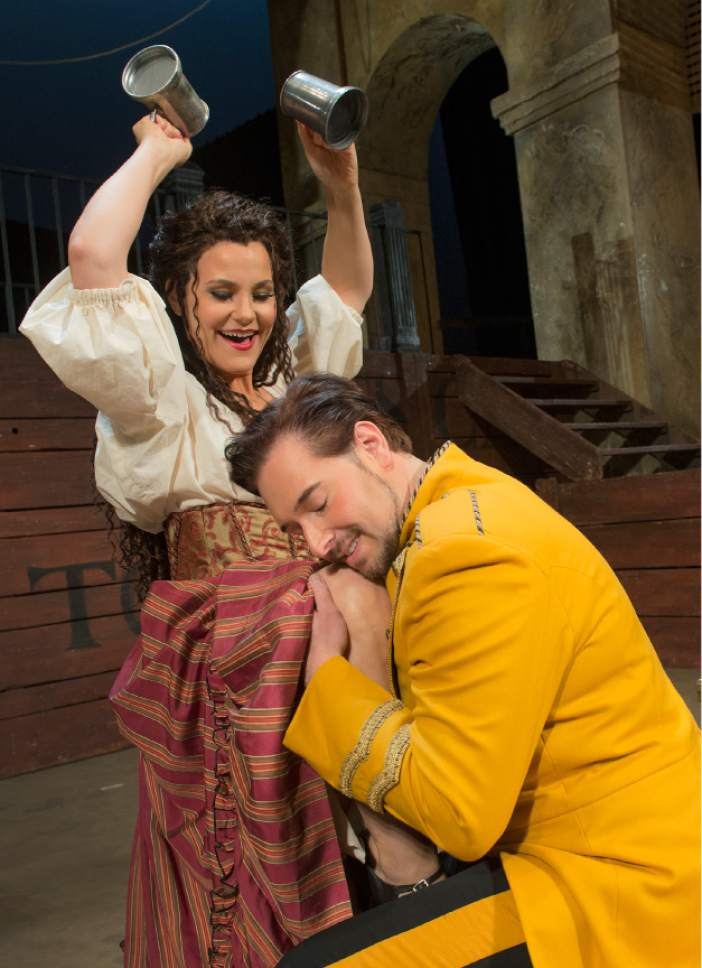 "Leah Hogsten     The Salt Lake Tribune In Utah Opera's ""Carmen,"" mezzo-Soprano Elise Quagliata is Carmen and tenor Dominick Chenes is Don Jose.  The popular opera opens the companyís season Saturday, Oct. 8."
