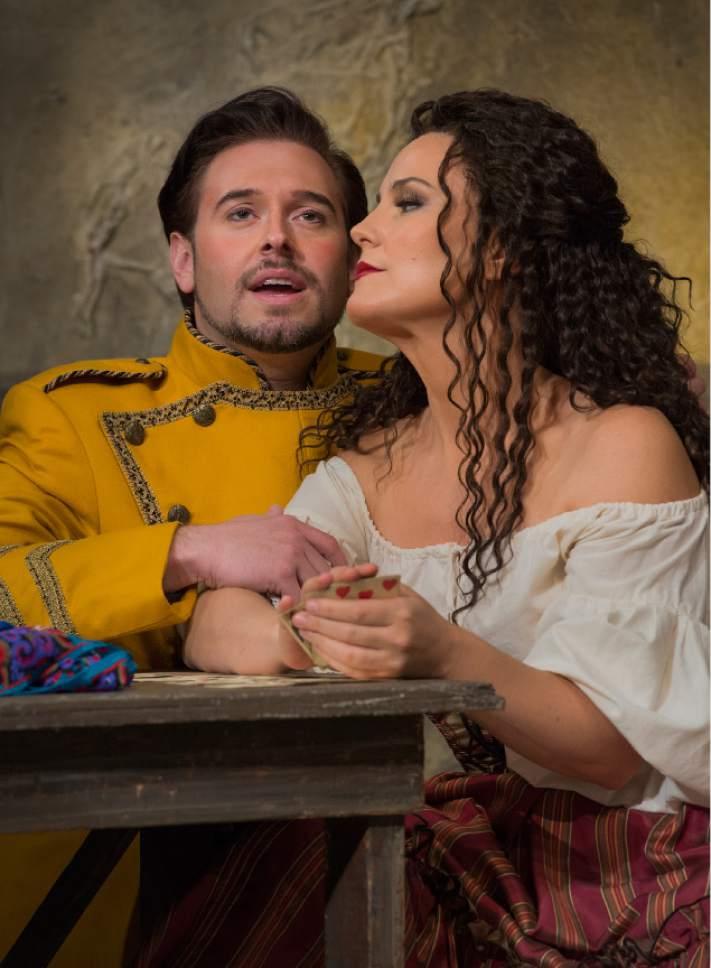 """Leah Hogsten     The Salt Lake Tribune In Utah Opera's """"Carmen,"""" mezzo-Soprano Elise Quagliata is Carmen and tenor Dominick Chenes is Don Jose.  The popular opera opens the company's season Saturday, Oct. 8."""
