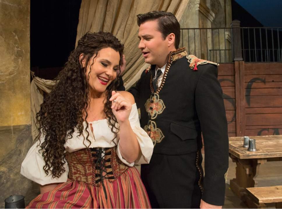 """Leah Hogsten     The Salt Lake Tribune In Utah Opera's """"Carmen,"""" mezzo-Soprano Elise Quagliata is Carmen and baritone Christian Bowers is Escamillo. The popular Bizet opera opens the company's season Saturday, Oct. 8."""