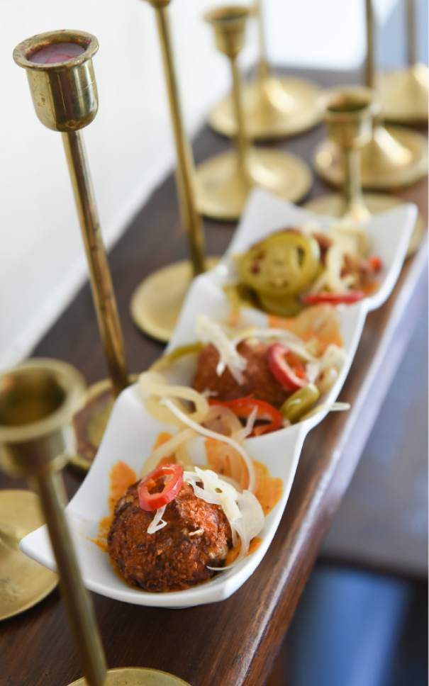 Francisco Kjolseth | The Salt Lake Tribune Smoked trout cakes, roasted-pepper aioli and pickled fennel from Trestle Tavern, a Salt Lake City neighborhood restaurant with Eastern-European style food that has moved in to the former location of Fresco in the 15th &15th area.