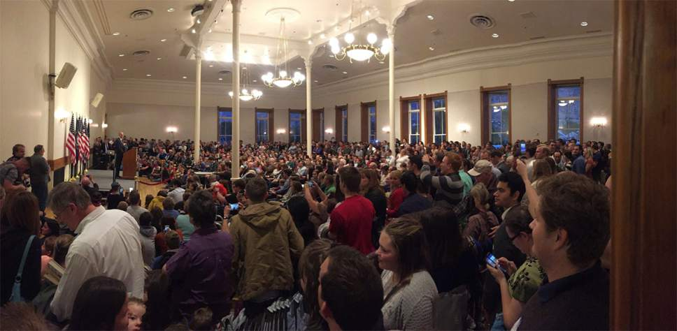 |  Courtesy of the Evan McMullin campaign  Presidential candidate Evan McMullin draws a large crowd to a Provo library for his town-hall meeting on Wednesday, Oct. 5, 2016.