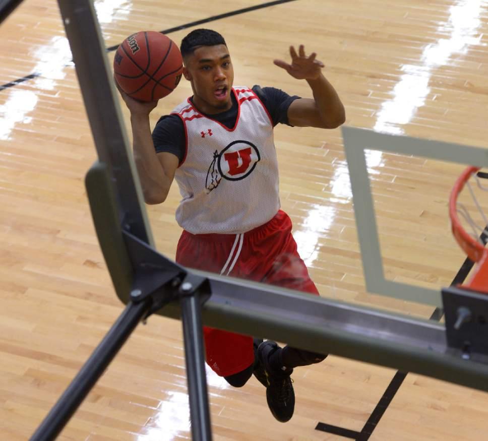 Leah Hogsten  |  The Salt Lake Tribune l-r University of Utah basketball player Sedrick Barefield during practice Thursday, October 6, 2016 at the Huntsman Basketball Facility.