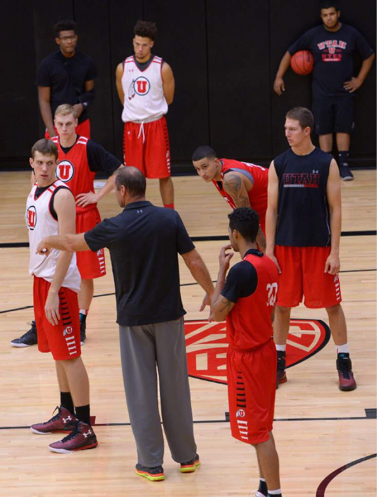 Leah Hogsten  |  The Salt Lake Tribune  University of Utah basketball head coach Larry Krystkowiak leads his team during practice Thursday, October 6, 2016 at the Huntsman Basketball Facility.
