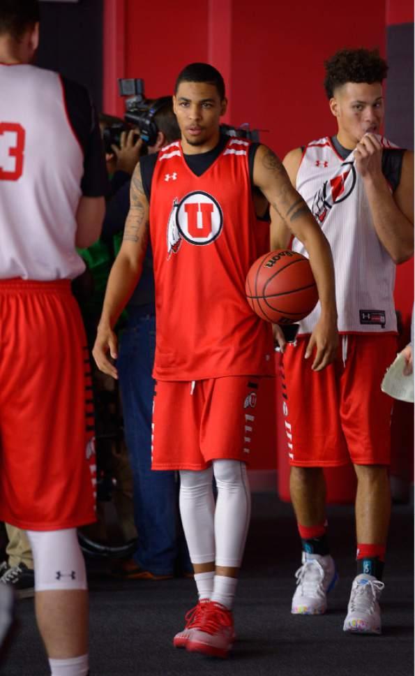 Leah Hogsten  |  The Salt Lake Tribune l-r JoJo Zamora and Devon Daniels arrive in the balcony to speak with media. The University of Utah basketball team practices Thursday, October 6, 2016 at the Huntsman Basketball Facility.