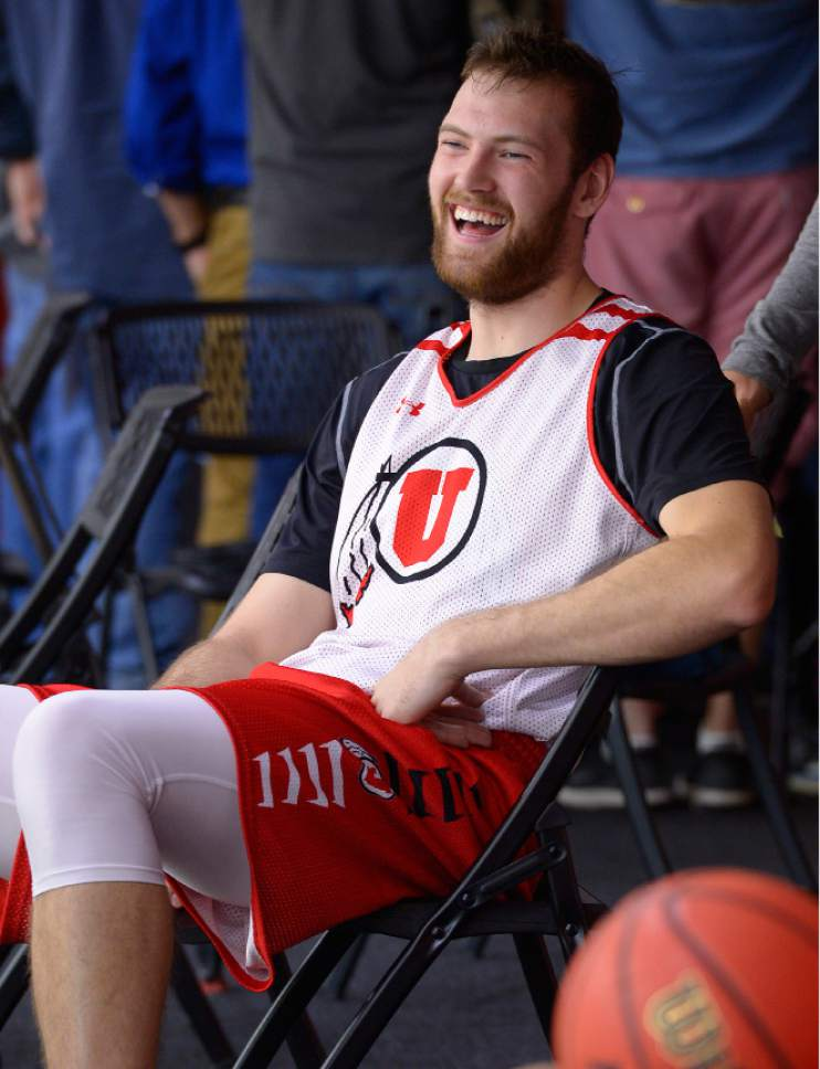 Leah Hogsten  |  The Salt Lake Tribune l-r David Collette arrives in the balcony to speak with media after the University of Utah basketball team practices Thursday, October 6, 2016 at the Huntsman Basketball Facility.