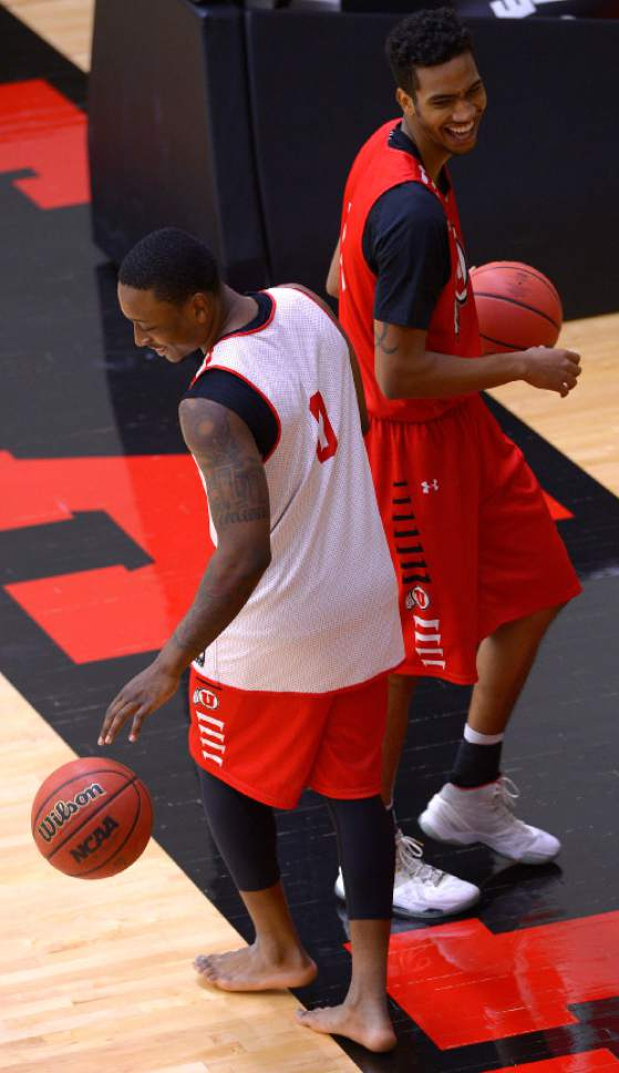 Leah Hogsten  |  The Salt Lake Tribune l-r University of Utah basketball players Tim Coleman and Gabe Bealer share a laugh after team practice Thursday, October 6, 2016 at the Huntsman Basketball Facility.