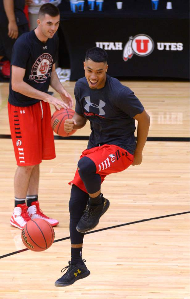 Leah Hogsten  |  The Salt Lake Tribune l-r University of Utah basketball player Beau Rydalch laughs at the antic of Sedrick Barefield after team practice Thursday, October 6, 2016 at the Huntsman Basketball Facility.