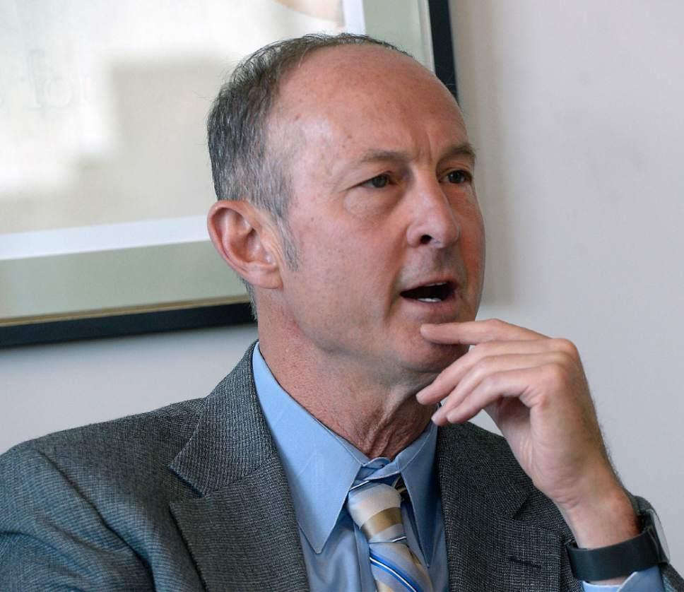 Al Hartmann  |  The Salt Lake Tribune Peter Clemens, Democratic candidate in Utah's 1st Congressional District meets with the Salt Lake Tribune editorial board Wednesday September 14.