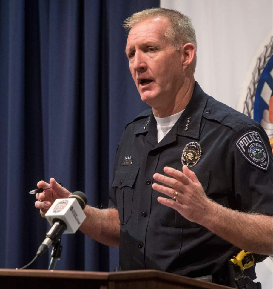 Rick Egan  |  The Salt Lake Tribune Salt Lake County Sheriff Jim Winder talks on Friday about the body that was found Thursday in Butterfield Canyon. The crime is being investigated as a homicide.