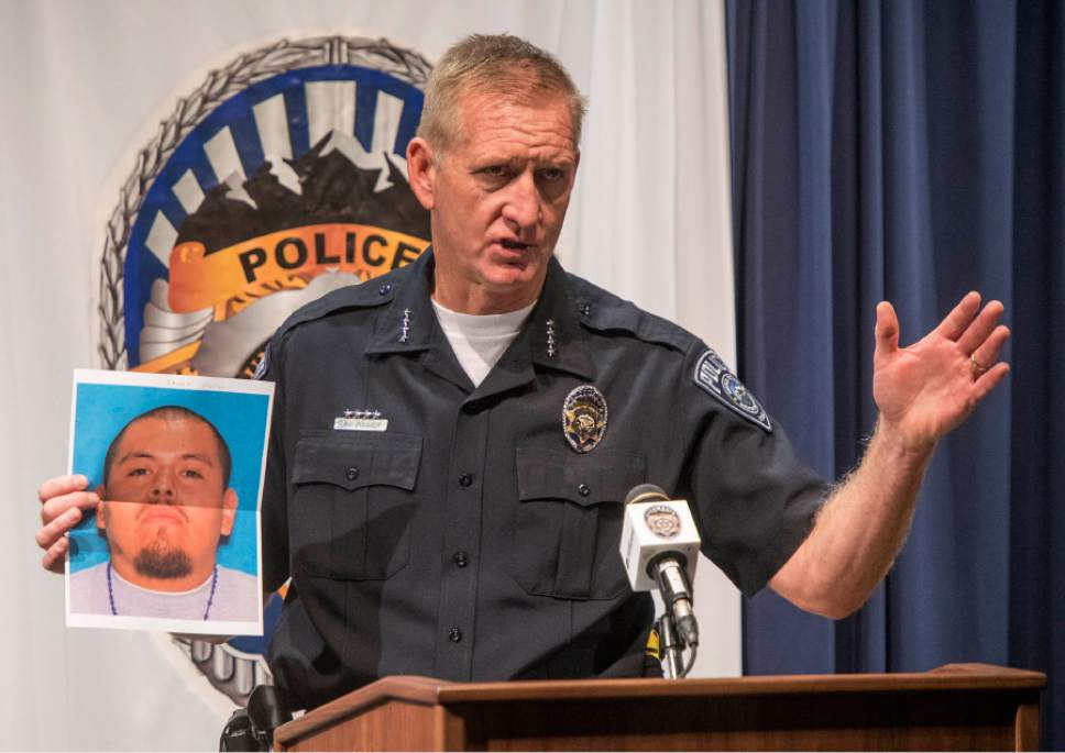 Rick Egan  |  The Salt Lake Tribune  Salt Lake County Sheriff Jim Winder holds a photo of 26-year-old Alejandro Reyes, who's  body was found Thursday in Butterfield Canyon. The crime is being investigated as a homicide. Friday, October 7, 2016.