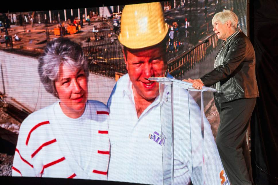 Chris Detrick  |  The Salt Lake Tribune Gail Miller, Owner, Larry H. Miller Group of Companies, speaks during a presentation at Vivint SmartHome Arena Wednesday September 21, 2016.