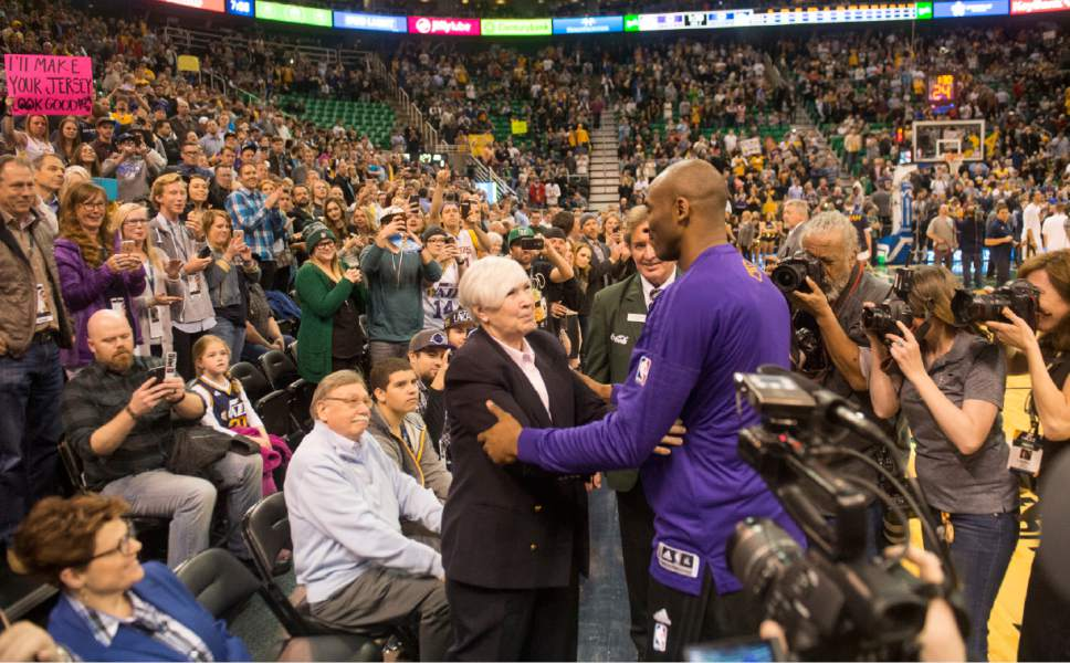 Rick Egan  |  The Salt Lake Tribune  Los Angeles Lakers forward Kobe Bryant hugs Gail Miller, before his last basketball game in Utah, as the Utah Jazz played the The Los Angeles Lakers, in Salt Lake City, Monday, March 28, 2016.