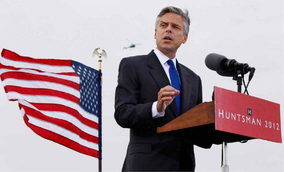 Former Utah Gov. Jon Huntsman announces his bid for the Republican presidential nomination, Tuesday, June 21, 2011, at Liberty State Park in Jersey City, N.J. (AP Photo/Mel†Evans)