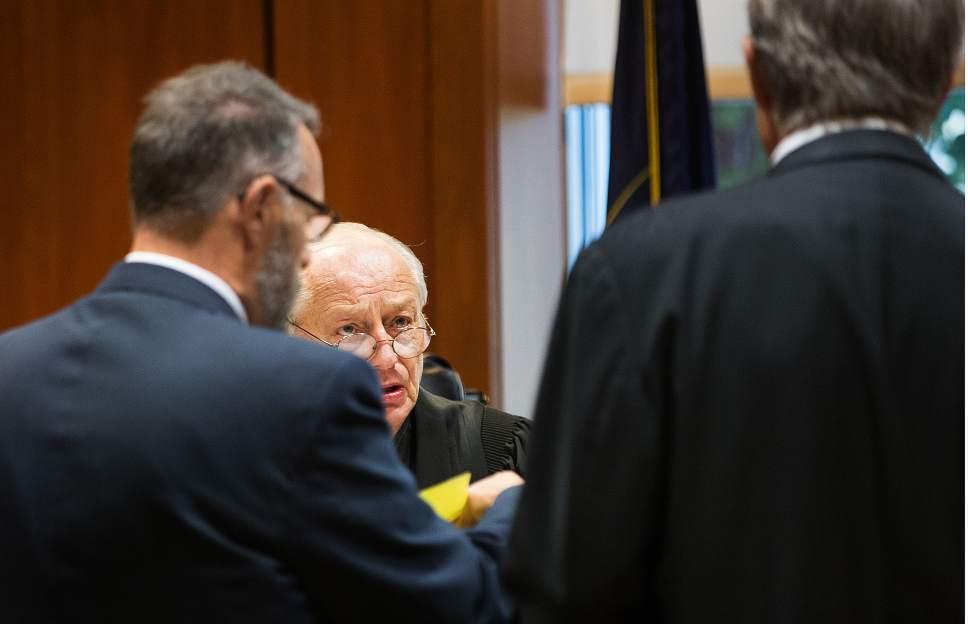 Scott Winterton  |  Pool Judge Clinton E. Balmforth of South Jordan Justice Court talks West Jordan city councilman Jeffery David Haaga and council on Friday, Oct. 7, 2016.