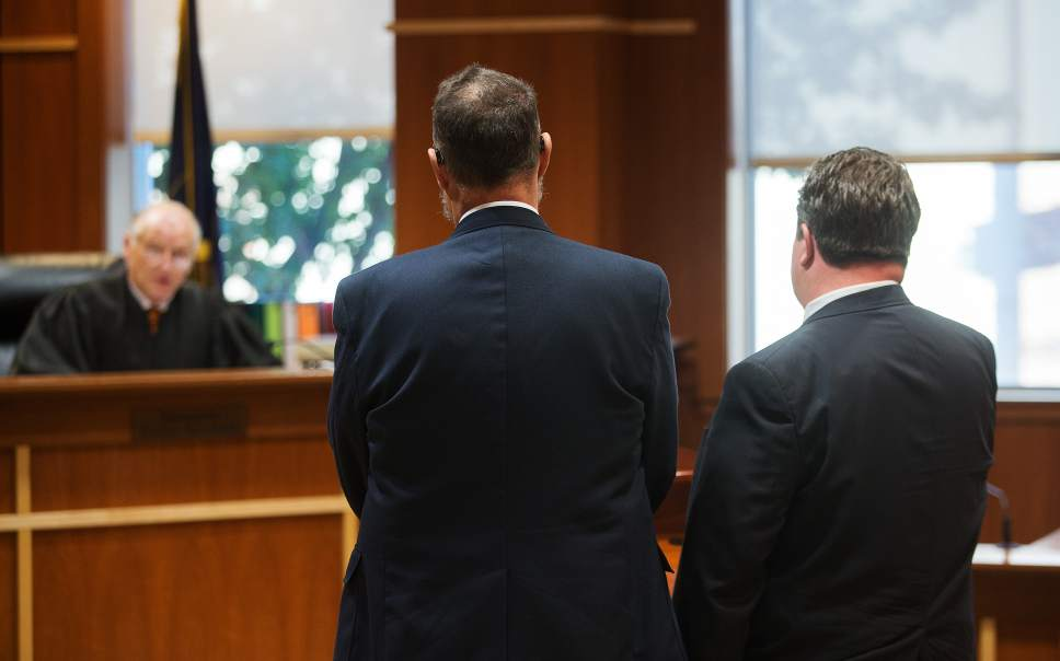 Scott Winterton  |  Pool West Jordan city councilman Jeffery David Haaga, center, appears before Judge Clinton E. Balmforth in South Jordan Justice Court on Friday, Oct. 7, 2016.