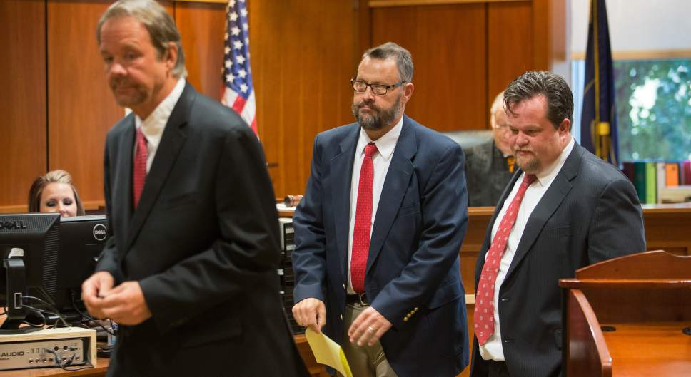 Scott Winterton  |  Pool West Jordan city councilman Jeffery David Haaga and his attorney Tyler Ayres turn to leave the court judge Judge Clinton E. Balmforth in South Jordan Justice Court on Friday, Oct. 7, 2016.