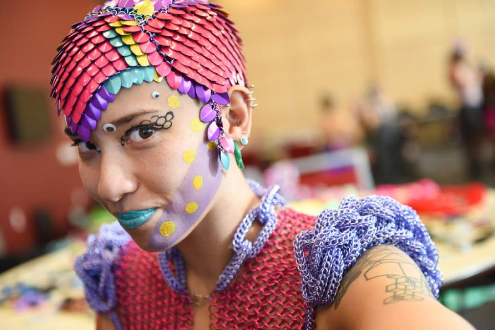 Francisco Kjolseth | The Salt Lake Tribune  Artist Sky Cubacub, creator of Rebirth Garments who developed an interest in chain mail when she was young, was the force behind this week's queer crip fashion show, a politicized umbrella term that encompasses queer, gender, nonconforming identities, that took place at the University of Utah as part of LGBT Pride Week. Local models, outfitted by the works of Cubacub created a clothing line for the full spectrum of genders, size and ability as part of her queer crip dress reform movement manifesto called Radical Visibility.