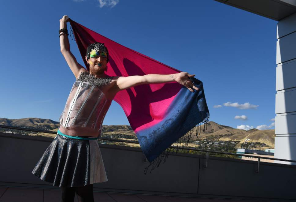 Francisco Kjolseth | The Salt Lake Tribune  Owen Edwards who identifies his gender to be fluid, welcomes the challenge to step out of his comfort zone to participate in the queer crip fashion show, a politicized umbrella term that encompasses queer, gender nonconforming identities, at the University of Utah as part of LGBT Pride Week. Edwards a religious and gender studies student at the U of U didn't expect to be wearing a clear plastic corset or chain mail but thinks its important to try something new once in a while.
