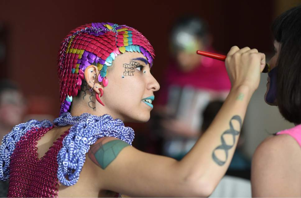 Francisco Kjolseth | The Salt Lake Tribune  Artist Sky Cubacub, creator of Rebirth Garments was the force behind this week's queer crip fashion show, a politicized umbrella term that encompasses queer, gender, nonconforming identities, that took place at the University of Utah as part of LGBT Pride Week. Local models, outfitted by the works of Cubacub created a clothing line for the full spectrum of genders, size and ability as part of her queer crip dress reform movement manifesto called Radical Visibility.