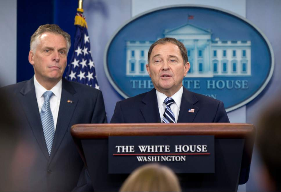 National Governors Association Winter Meeting Chair Utah Gov. Gary Herbert, right, joined by National Governors Association Winter Meeting Vice Chair Virginia Gov. Terry McAuliffe, speaks to the media during the daily news briefing at the White House, in Washington, Monday, Feb. 22, 2016. Herbert and McAuliffe discussed the current presidential election cycle, the Supreme Court vacancy, gun control and other topics. (AP Photo/Carolyn Kaster)
