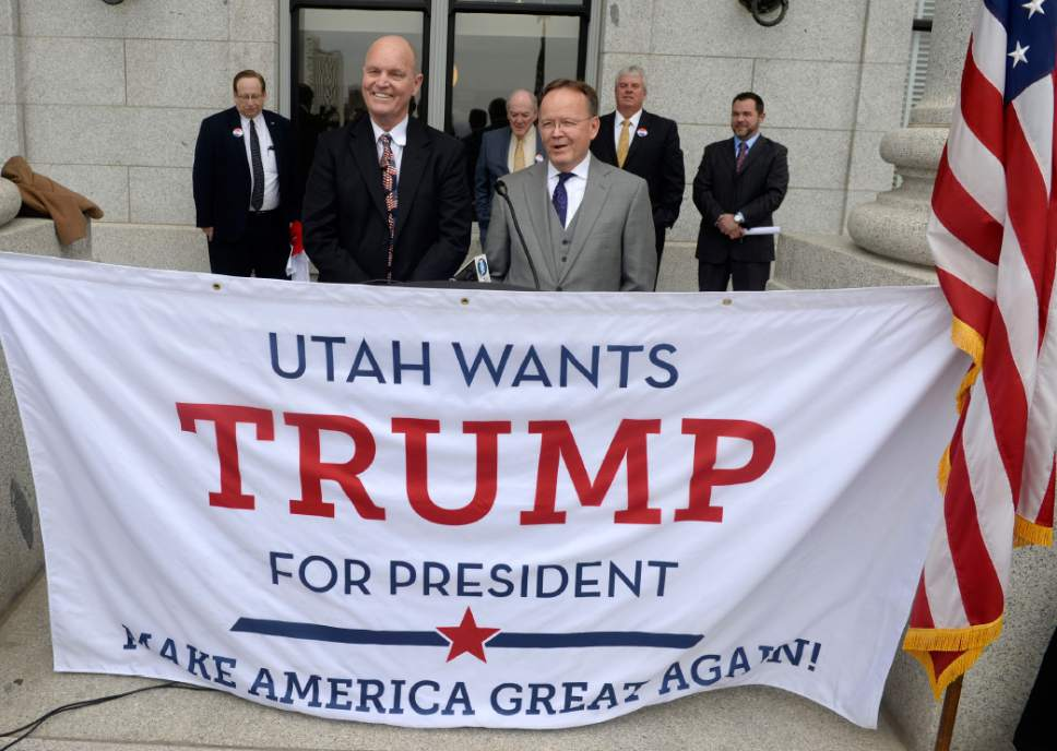 Al Hartmann  |  The Salt Lake Tribune Senator Ralph Okerlund, R-Monroe, Majority Leader, left, and Senator Stuart Adams, Majority Whip, R-Layton were  among a group of Utahns who stood on the Utah Capitol steps Monday Feb 22 to announce Utah's formation for the Donald Trump campaign.