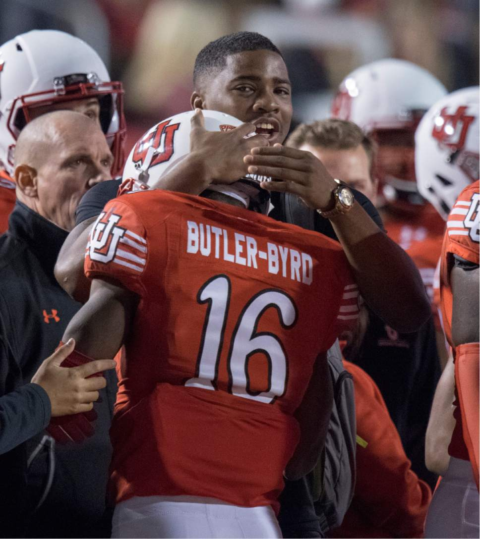 Rick Egan  |  The Salt Lake Tribune  Utah wide receiver Cory Butler-Byrd (16) celebrates after making a huge run for the Utes, in PAC-12 football action, Utah vs. The Arizona Wildcats, at Rice-Eccles Stadium, Saturday, October 8, 2016.
