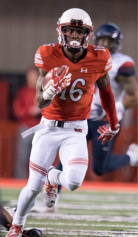 Rick Egan  |  The Salt Lake Tribune  Utah wide receiver Cory Butler-Byrd (16) runs for the Utes, in PAC-12 football action, Utah vs. The Arizona Wildcats, at Rice-Eccles Stadium, Saturday, October 8, 2016.