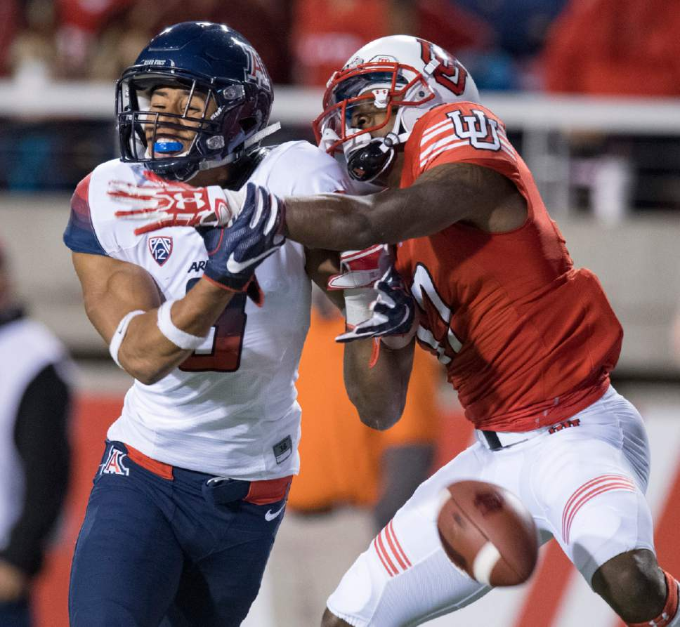 Rick Egan  |  The Salt Lake Tribune  Arizona Wildcats cornerback Dane Cruikshank (9) breaks up a pass intended for Utah Utes wide receiver Demari Simpkins (17). Defensive pass interference was called on the play, in PAC-12 football action, Utah vs. The Arizona Wildcats, at Rice-Eccles Stadium, Saturday, October 8, 2016.