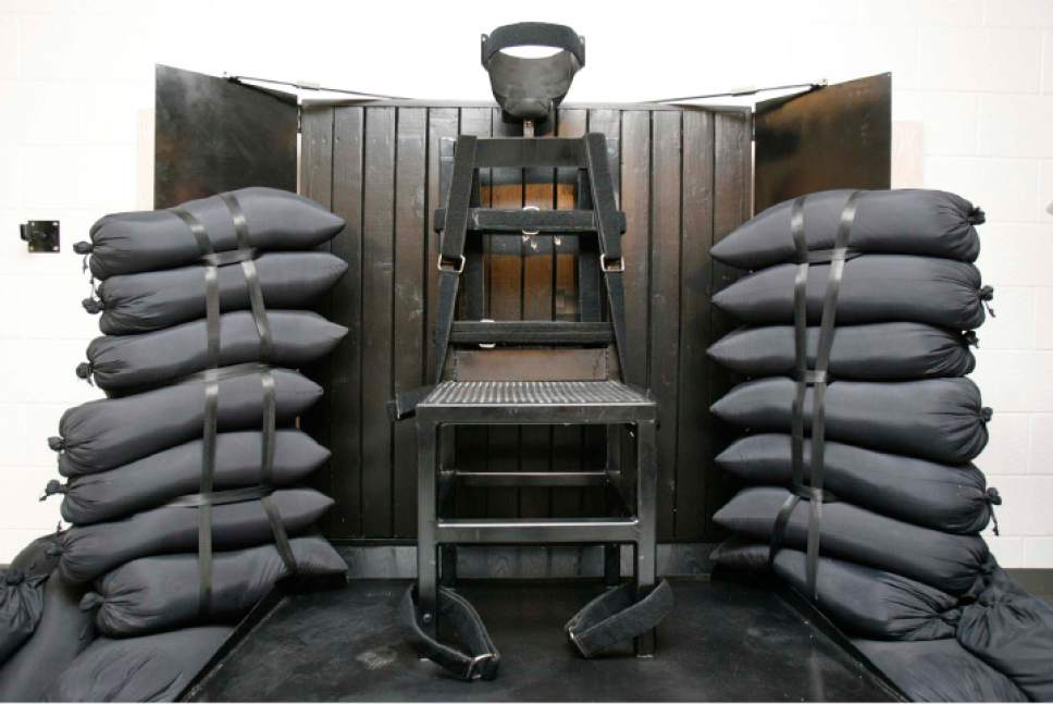 FILE - This June 18, 2010, file photo shows the firing squad execution chamber at the Utah State Prison in Draper, Utah. Ten years after banning the use of firing squads in state executions, Utah lawmakers on Wednesday, Nov. 19, 2014, endorsed a proposal to resurrect the practice in order to head off problems with the lethal injection drugs. (AP Photo/Trent Nelson, Pool, File)