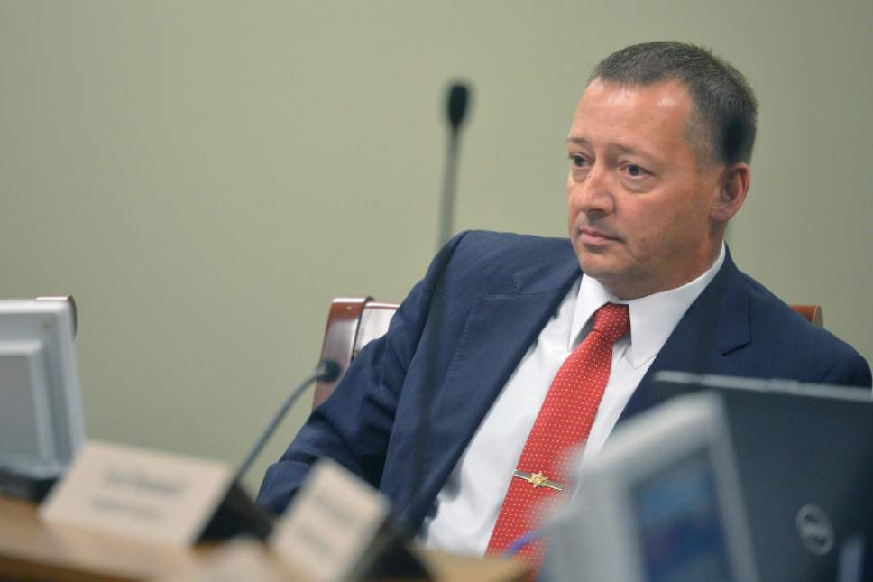 Chris Detrick  |  Tribune Rep. Paul Ray (R-Clearfield) speaks during a Law Enforcement and Criminal Justice Interim Committee meeting Wednesday September 17, 2014.