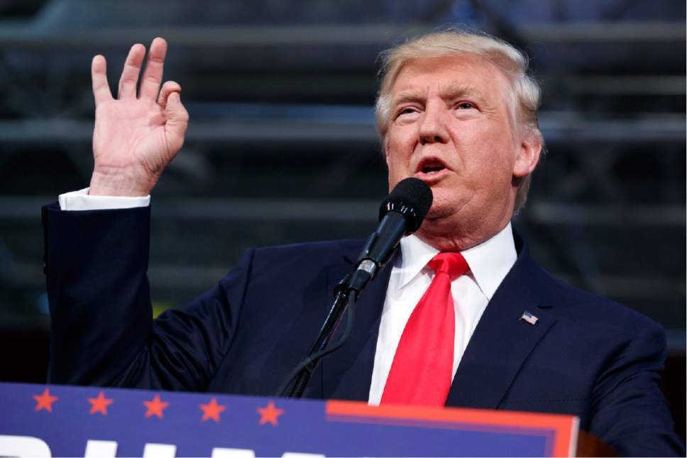 Republican presidential candidate Donald Trump speaks during a campaign rally, Monday, Oct. 10, 2016, in Ambridge, Pa. (AP Photo/ Evan Vucci)
