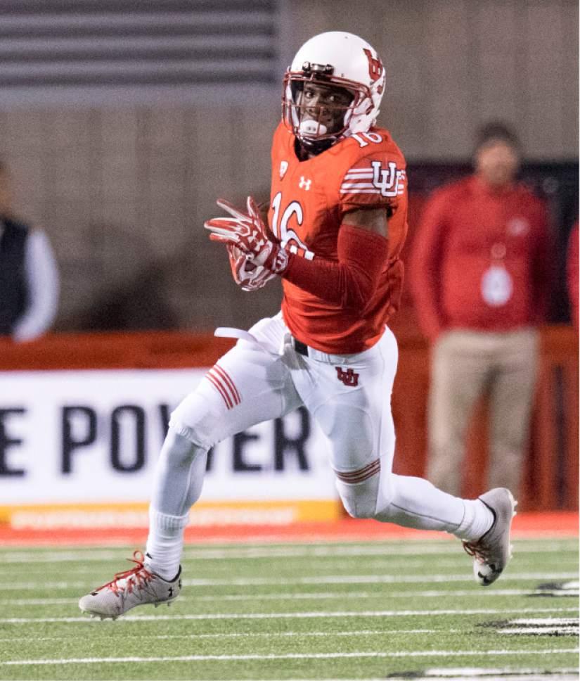 Rick Egan  |  The Salt Lake Tribune  Utah wide receiver Cory Butler-Byrd (16)  runs for the Utes, in PAC-12 football action, Utah vs. The Arizona Wildcats, at Rice-Eccles Stadium, Saturday, October 8, 2016.