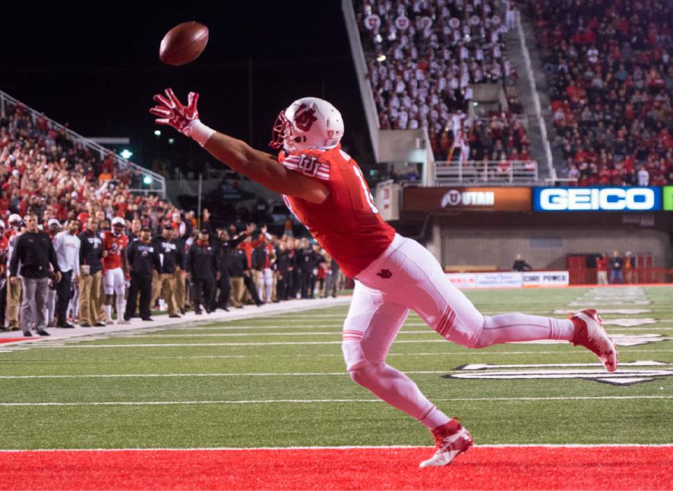 Rick Egan  |  The Salt Lake Tribune  Utah Utes tight end Evan Moeai (18) cant quite get his hands on a pass in the end zone,  in PAC-12 football action, Utah vs. The Arizona Wildcats, at Rice-Eccles Stadium, Saturday, October 8, 2016.