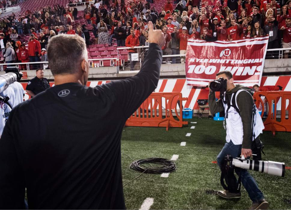 Rick Egan  |  The Salt Lake Tribune  Utah Utes head coach Kyle Whittingham recognizes the MUSS, as they chant his name, after his 100th win, in PAC-12 football action, Utah vs. The Arizona Wildcats, at Rice-Eccles Stadium, Saturday, October 8, 2016.