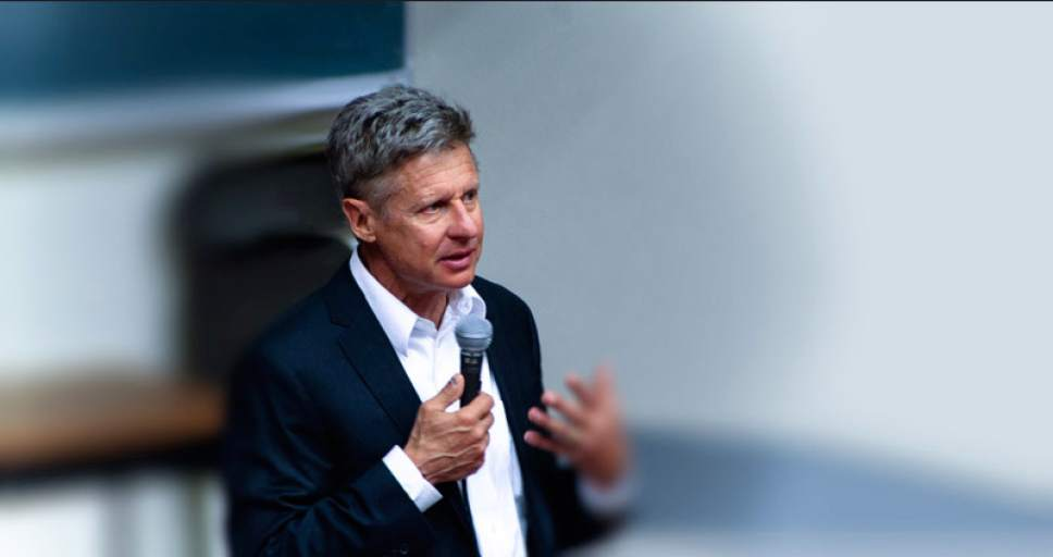    Courtesy  Gary Johnson is the 2012 Libertarian Party nominee for president who is again running for his party's nomination from a Salt Lake City campaign headquarters.