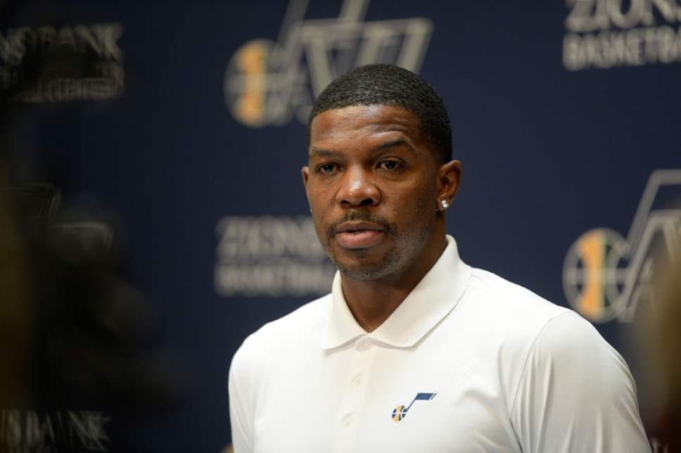 Francisco Kjolseth   The Salt Lake Tribune The Utah Jazz introduce one of their newest players, Joe Johnson, during a press announcement on Friday, July, 8, 2016. Johnson who last played for the Miami Heat, enters his 16th season with the NBA.