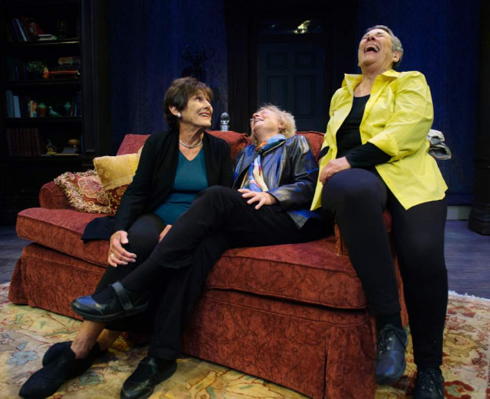 "Steve Griffin / The Salt Lake Tribune  Actress Anne Cullimore Decker, author Peggy Battin and Utah playwright Julie Jensen laugh together before rehearsal for Jensen's play ""Winter,"" which was inspired by Battin's short story ""Robeck."""
