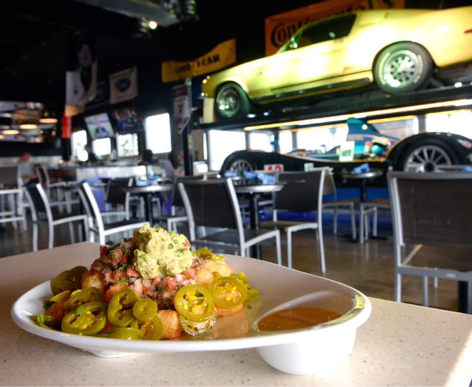 Al Hartmann  |  The Salt Lake Tribune Tater Tot nachos at the new Garage Grill & RPM Brewery at 1122 E. Draper Parkway in Draper.