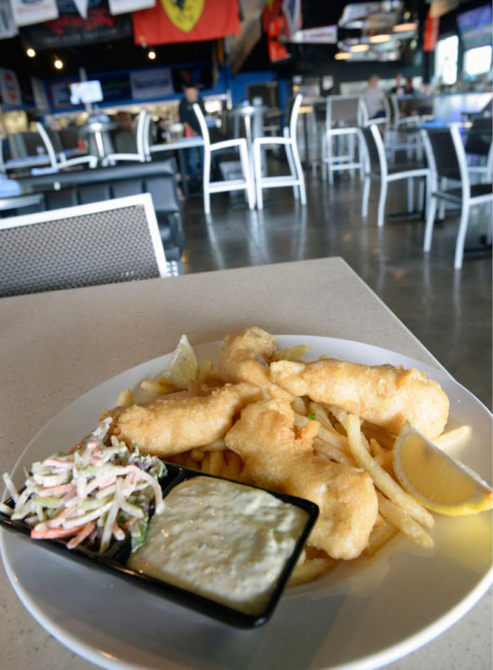 Al Hartmann  |  The Salt Lake Tribune Halibut fish and chips at the new Garage Grill & RPM Brewery at 1122 E. Draper Parkway in Draper.