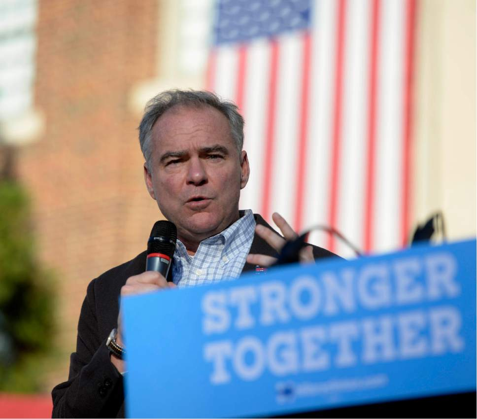 Democratic vice presidential candidate Sen. Tim Kaine talks to the crowd during a rally at Davidson College in Davidson, N.C., Wednesday, Oct. 12, 2016. (David T. Foster III/The Charlotte Observer via AP)