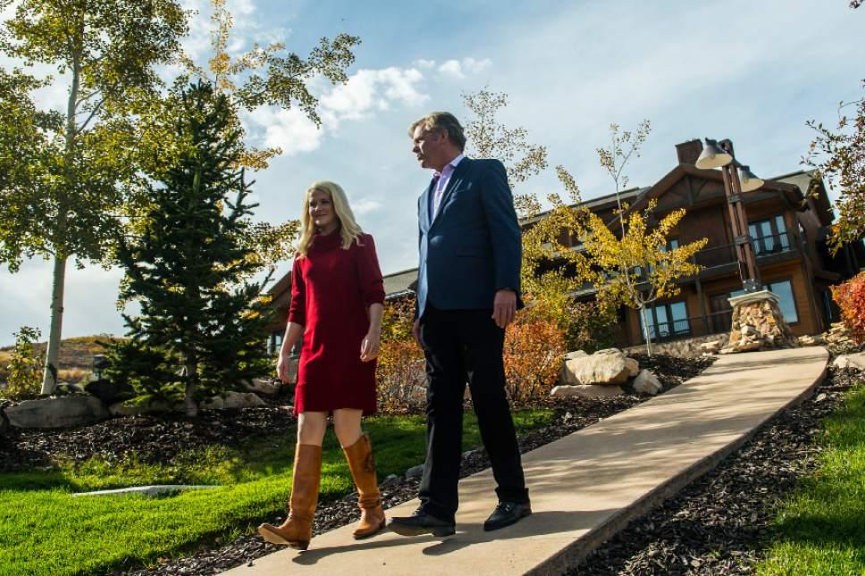 Chris Detrick  |  The Salt Lake Tribune Elizabeth Smart and Chris Hansen converse at the Waldorf Astoria in Park City on Tuesday.