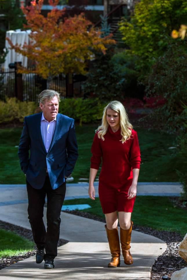 Chris Detrick  |  The Salt Lake Tribune Chris Hansen and Elizabeth Smart pose for a portrait at the Waldorf Astoria in Park City Tuesday October 11, 2016.